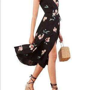 NEW Reformation Carina Midi Floral Wrap Dress L